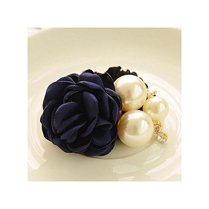 Women Satin Ribbon Rose Flower Pearls Hairband Ponytail Holder Hair Band BU b7b2724b9bd