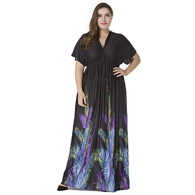 f7ffa687656 Sexy Women Plunge V Neck Print Plus Size Dress Ruched Big Size Maxi Party  Dress Black