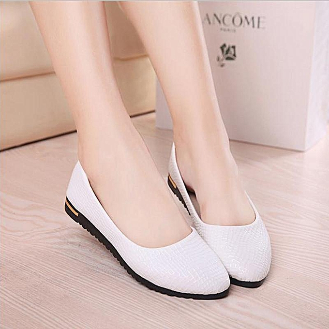 ac96c339bd2 Womens Leather Slip On Flats Loafers Casual Ballet Ballerina Shoes Single  Shoes WHITE