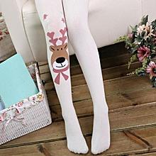 db37cf2102fa80 Kids Girl Elasticity Tights Soft Christmas Elk Print Splice Socks Pantyhose  WH L