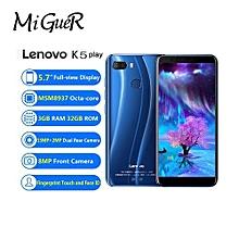 Lenovo K5 Play Phone 3GB + 32GB 5.7HD 3000mAh Rear Camera 13MP + 2MP Front Camera 8MP 4G Smartphone