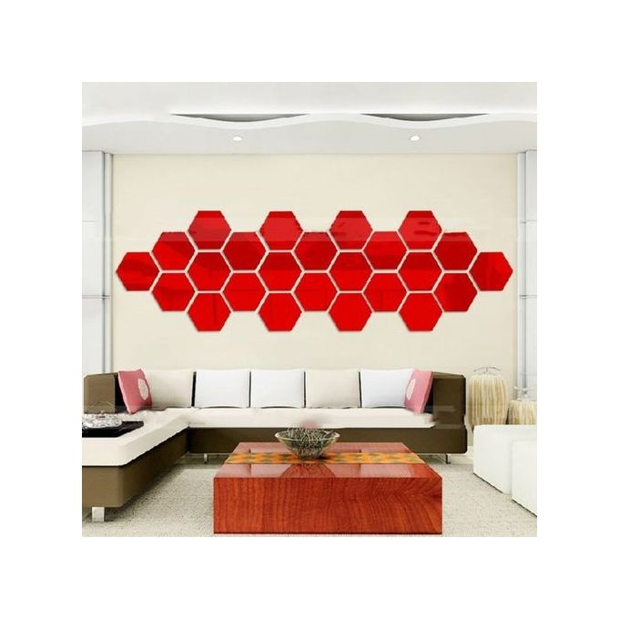 Generic hexagonal 3d mirrors wall stickers home decor for Home decorations on jumia
