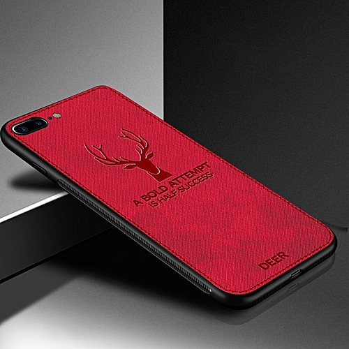 big sale e019d a60e8 for iPhone 7 Plus case Fabric Phone Cloth Cases for iPhone TPU Bumper Deer  Pattern Cover-Red