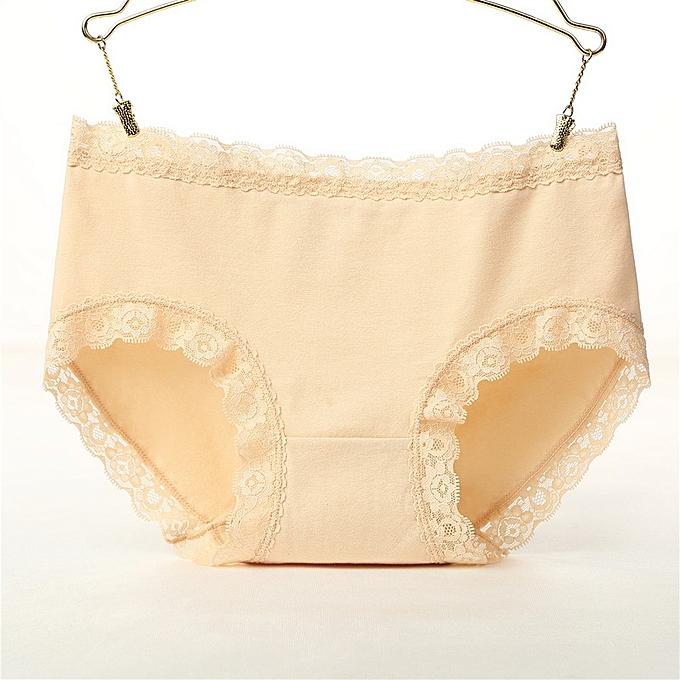 af6ccab996b Sweet girl underwear lace side ladies cotton underwear sexy seamless large  size triangle briefs-beige ...