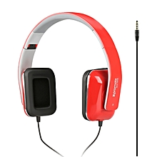 SONATA: Red On-Ear Stereo Sound Bass Wired Portable Foldable Headphones with Built-In Mic, HiFi Audio, Noise Isolating and 3.5mm Plug for iPhone, Samsung, Laptop, PC, Mp3 Headphones
