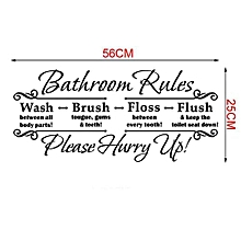 Bathroom Rules Wall Stickers Removable Decal Home Decor DIY Art Decoration-Black