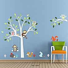 Nursery Baby Jungle Animal Owls Monkey Tree Wall Stickers Decor For Kids Room