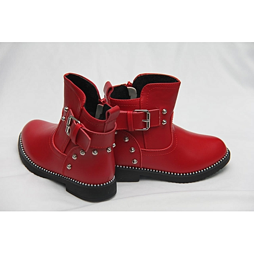 9136a281d41 Generic Girls casual Leather Ankle Boots With Buckle- Red   Best ...