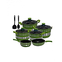 Non Stick Cooking Pot - 12 Pieces - Green & Silver