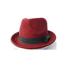 Unisex Wool Trilby Jazz Fedora Hat with Ribbon Band - Maroon
