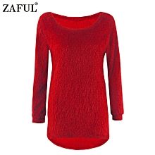 Women Pulloversweater Crew Neck Hi-Lo Hemknitted Sweater - Red