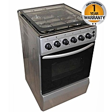 SGC5470MS-Electric Cooker 50X55 with 3 Gas Burners + 1 Hot Plate-Stainless steel- With Tempered Glass-TOP-GREY-INOX
