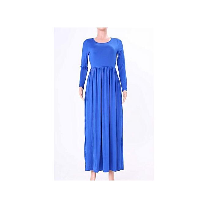 8880457cd638 Hiaojbk Store Women Long Sleeve Loose Plain Maxi Dresses Casual Long Dresses  With Pockets- Blue