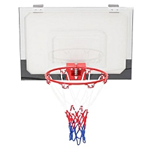Portable Mini Hoop Backboard Net Pump Set W/ Basketball Indoor Outdoor Game Toy