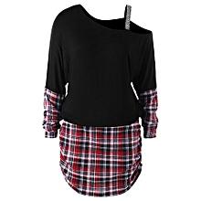 Plus Size Skew Collar Shirred Side Dress - BLACK