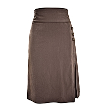 Black Formal Skirt With 3 Side Buttons