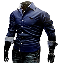 Men's embroidery Slim long-sleeved shirt Blue.