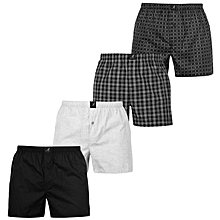 Grey and Black Patterned Cotton Boxer Shorts 4 - Pack