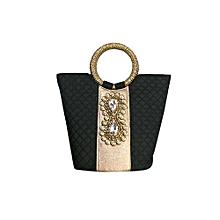 Raw Silk Handbag with Dynamix Brooch - Black