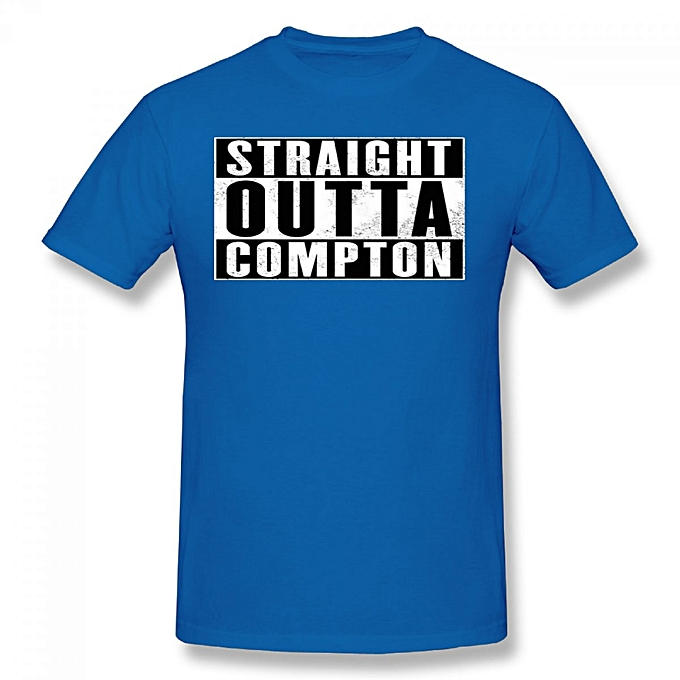 Nwa Straight Outta Compton Men S Cotton Short Sleeve Print T Shirt Blue
