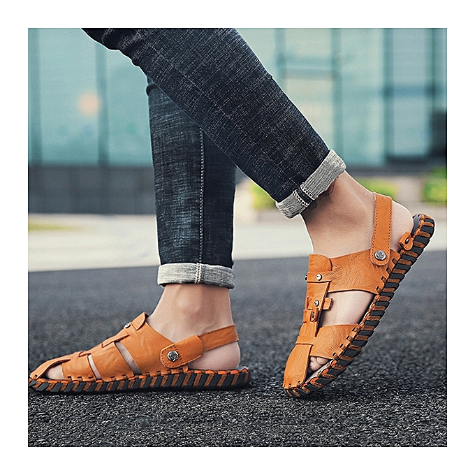 f729cf2ca ... Men Summer Comfy Genuine Leather Two Way Wear Sandals Beach Shoes  Slippers ...