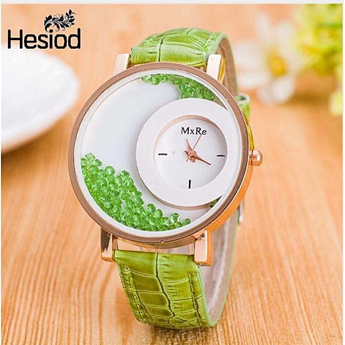 227b330f6c11 Montre Femme Watch Woman PU Leather Quicksand Rhinestone Quartz Watch  Bracelet Watches Ladies Wristwatch Reloj Mujer