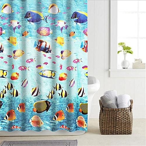 Buy Generic 4PCS EVA Elegant Shower Curtain 12 Ring Hooks Waterproof Mildew Resistant Bathroom Best Price