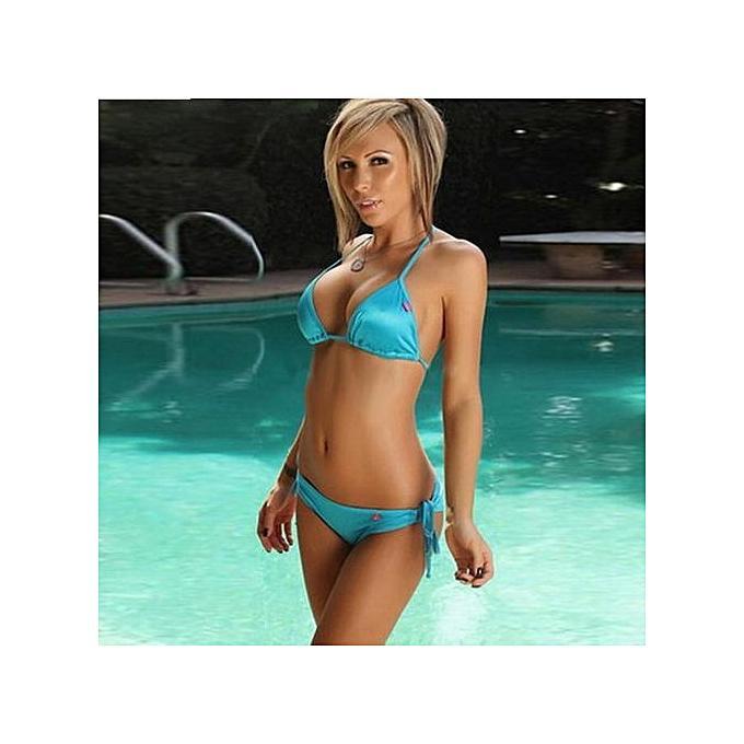 2a6c801e0c8 Xingbiaocao Women Bikini Set Push-up Bandeau Bra Bandage Swimsuit Bathing  Suit Swimwear BU -