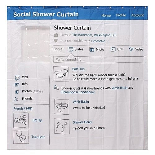 Fashion Facebook Window Shower Curtain Waterproof Bathroom Panel Decor W Hooks 18x18M