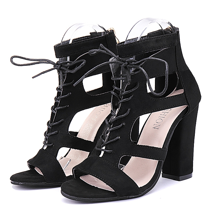 1d6cbe3f5281 Women s High Heel Block Ankle Strap Shoes Gladiator Peep Toe Zipper Sandals