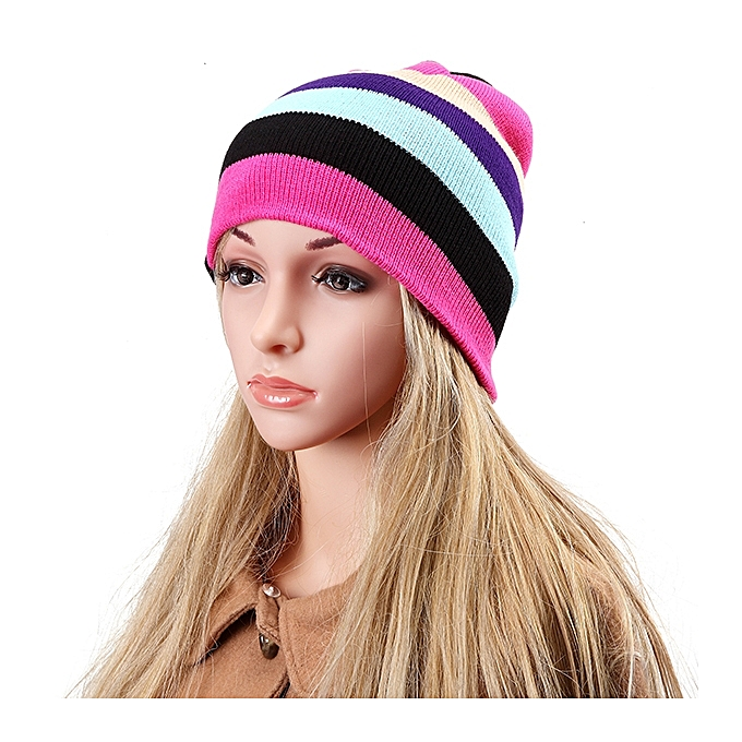 Women Beanies Striped Rainbow Colors Hat Cotton Knitted Hats Soft Beanie  Gorro Cap 92b042268c