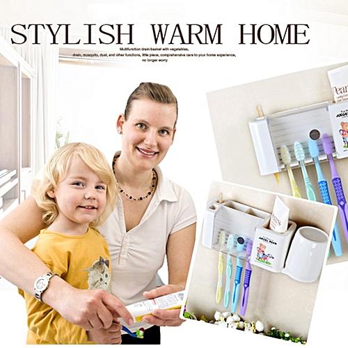 Allwin Cartoon Toothbrush Holder Wash Set Strong Wall Suction Rinsing Mug Storage  Rack style 1 white   Best Price  ab6c67032e