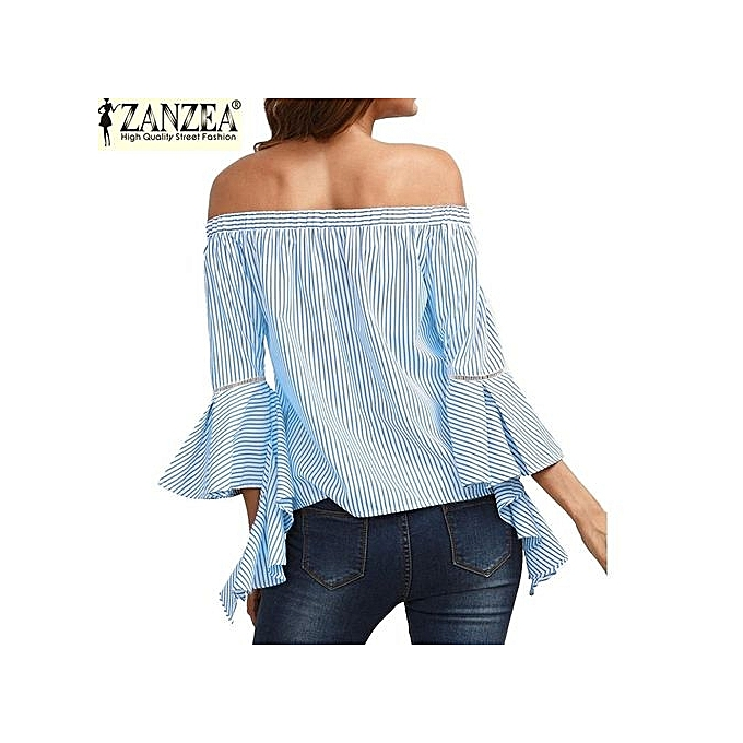 f6bf3adf8ff ZANZEA Slash Neck Off Shoulder Flare Sleeve Flouncing Stripe Shirt Womens  Fashion Casual Party Beach Summer