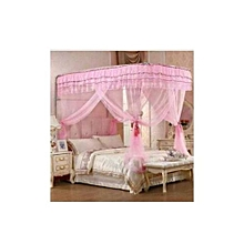 Mosquito Net With 2 Stands - 6x6- Pink