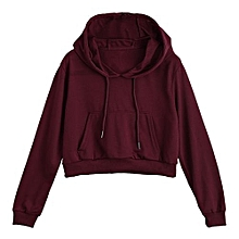 Drawstring Crop Hoodie - Deep Red