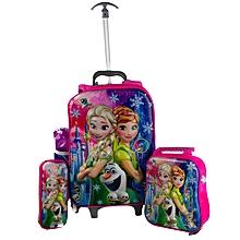 3-in-1 Frozen Cartoon School Bag for Kids with Trolley