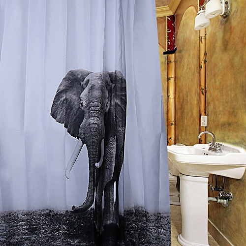 Generic Waterproof Polyester Shower Curtain Elephant Pattern With 12 Plastic Hooks