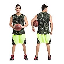 Customized Men's Basketball Training Sports Jersey Clothing Shirts Shorts Uniform-Green(1608)