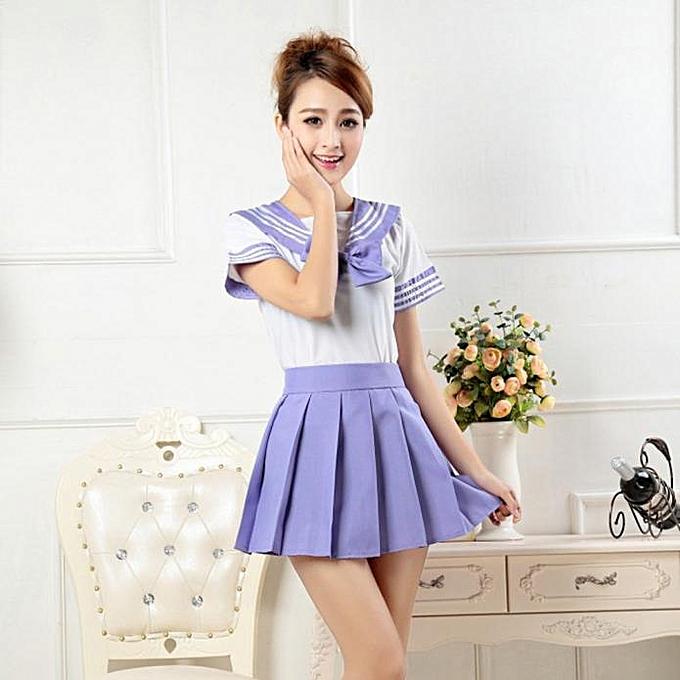 f385cb458f9fe Girl Senior School Uniform Shirt +Skirt Set Cosplay Costume Anime Suit PP L