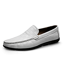 Mens Dress Genuine Leather Loafers Casual Flat Shoes White