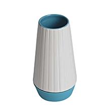 Vase - Medium - White & Blue