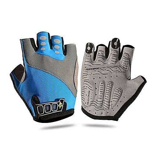 Fashion Non-Slip Breathable Mens Women's Summer Bike Gloves Bicycle Short Gloves Cycling Cycle Gel Pad Short Half Finger Gloves(Blue-1)