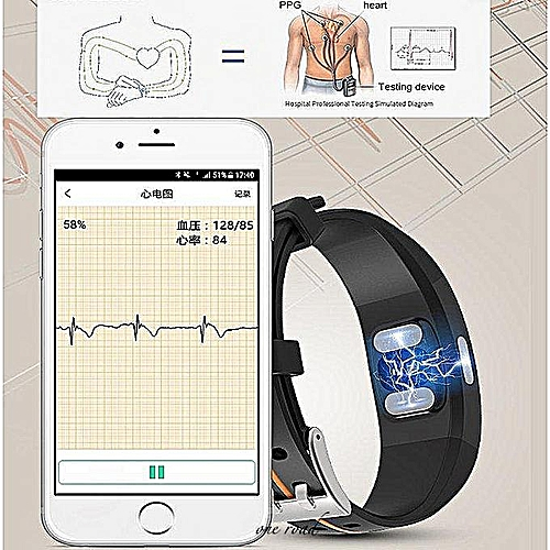 Universal P3 Wristband Heart Rate Ecg+Ppg Blood Pressure Monitoring  Bluetooth Smart Watch Ip67 Waterproof Fitness Tracker