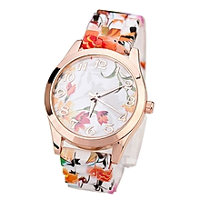 guoaivo Women Girl Watch Silicone Printed Flower Causal Quartz WristWatches OR -Orange