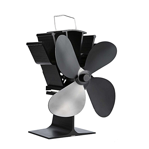 cf850951 Generic CO Thermal Power Fireplace Fan Heat Powered Wood Stove Four-leaf  Fans-black