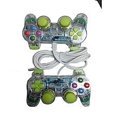 Double - PC USB Dual shock Game Controller Pad - Clear