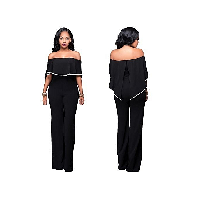 92117b3a9801 Women Casual Sexy Off Shoulder High Waist Long Pant Wide Leg Ruffle Party  Jumpsuits Rompers-