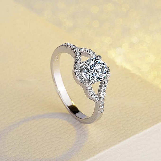 Simple Wedding Ring.Irregular Design Micro Inlaid Four Claw Simulation Diamond Ring Simple Wedding Ring Plated Platinum Color Retaining Ring Is Not Easy To Legs