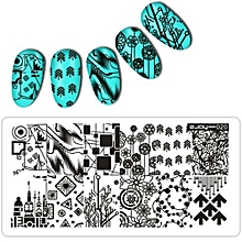 bluerdream-New Women Nail Art Manicure Rectangle Nail Art Stamping Template Plates  J-silver