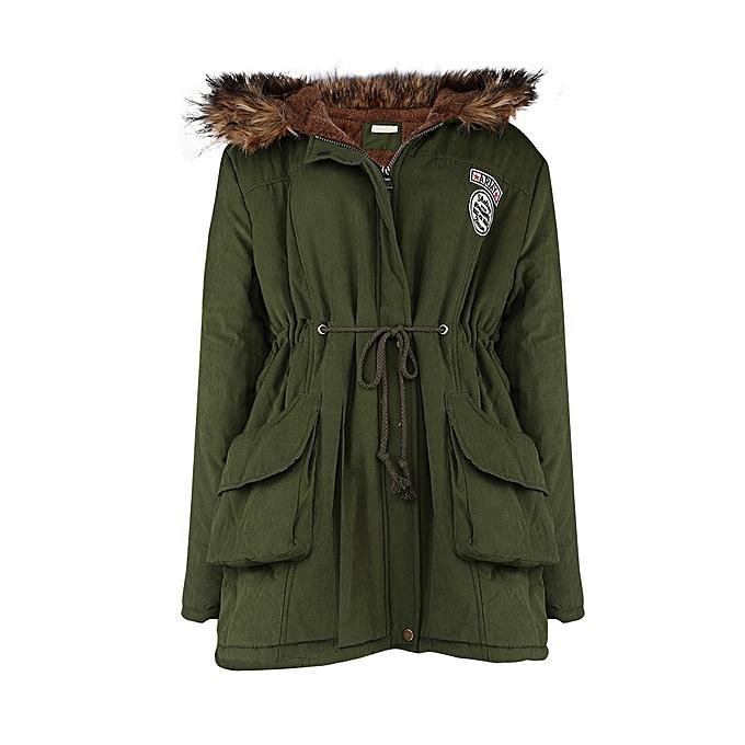 13c9e5c599 Hiaojbk Store Women's Ladies Warm Winter Cotton Fleece Lined Parka Faux Fur  Hooded Jacket Coat-